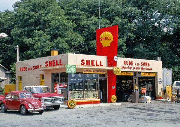 Rube amp; Sons Shell Gas Station Route 9 Kingston New York 5x7 Color Bamp;W Photo $4.99