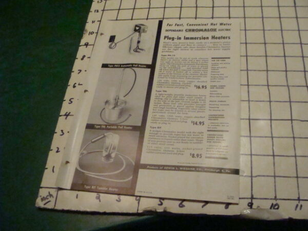 Mid Century Modern 1950s CHROMALOX IMMERSION HEATERS single sided ad sheet $20.29