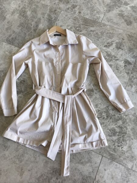 Uk 8 I Saw It First Beige Long Sleeve Belted Boiler Suit Safaris Playsuit GBP 10.00