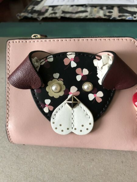 NWT Kate Spade Small L Zip Wallet Floral Pup Design Pink Dog Leather $45.00