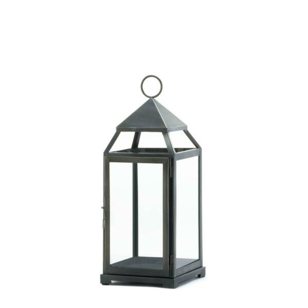 Metal Glass Large Rustic Silver Contemporary Candleholder Lantern