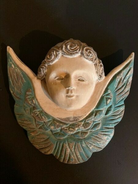 """Hand Carved Vintage Wood """"Putti"""" Angel with Wings – 24263"""