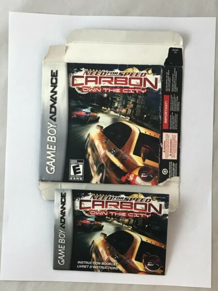 Need For Speed Carbon Game Boy Advance Box amp; Instruction Booklet Manual Only NFS $8.99