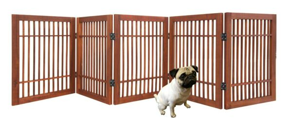 Pet Dog gate Strong and Durable 5 Panel Solid Acacia Hardwood Folding Fence $49.95
