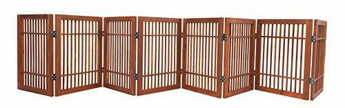Pet Dog Gate Strong and Durable 8 Panel Solid Acacia Hardwood Folding Fence $74.95