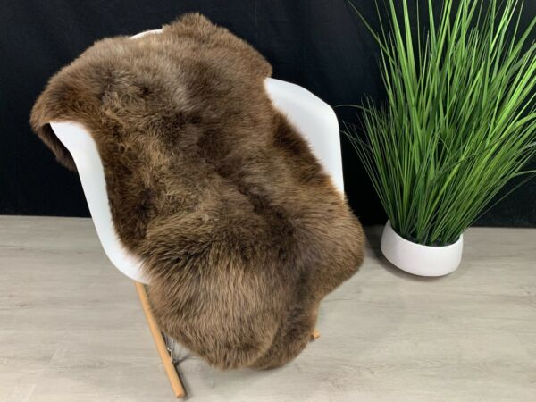 Genuine Natural Sheepskin Rug Pelt Soft Brown Seat Cover Gift For Pet Bed Throw