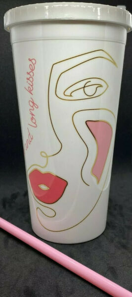 2020 Benefit Love Lips amp; Long Kisses Tumbler White with Pink Straw Durable