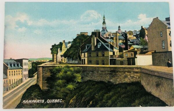 Vintage The Ramparts Quebec City Quebec Canada Postcard Fortified Wall