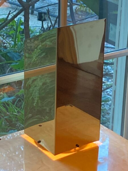 Mid century 1970#x27;S GEORGE KOVACS BRONZE OR BRASS PLATED Trapezoidal table LAMP