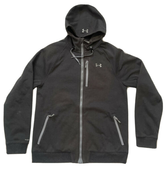 Under Armour Storm 2 Infrared Cold Gear Hooded Softshell Large Black Gray Jacket
