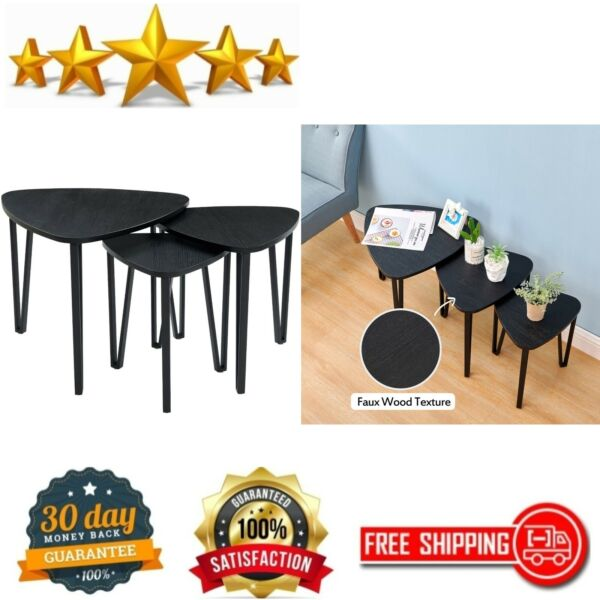 Black Nesting Tables Living Room Coffee Table Sets of 3 Stacking End Side Tables