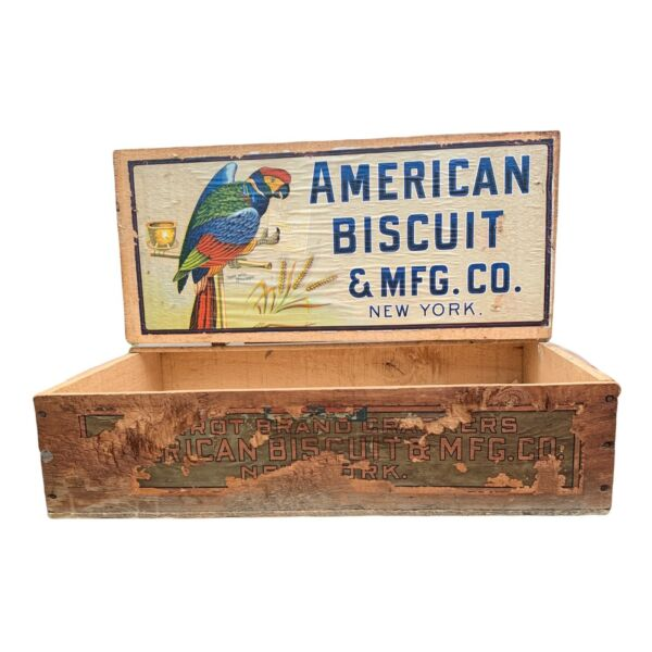 Antique American Biscuit Co. NY Wood Crate Beautiful Colors
