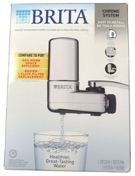 Brita Basic Faucet Mount Water Filtration System Chrome Easy Installation NEW