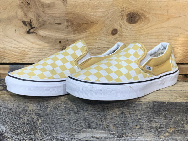 Vans Off Wall Checkerboard Yellow White Slip On Sneaker Womens 8.5 Mens 7 US $21.24