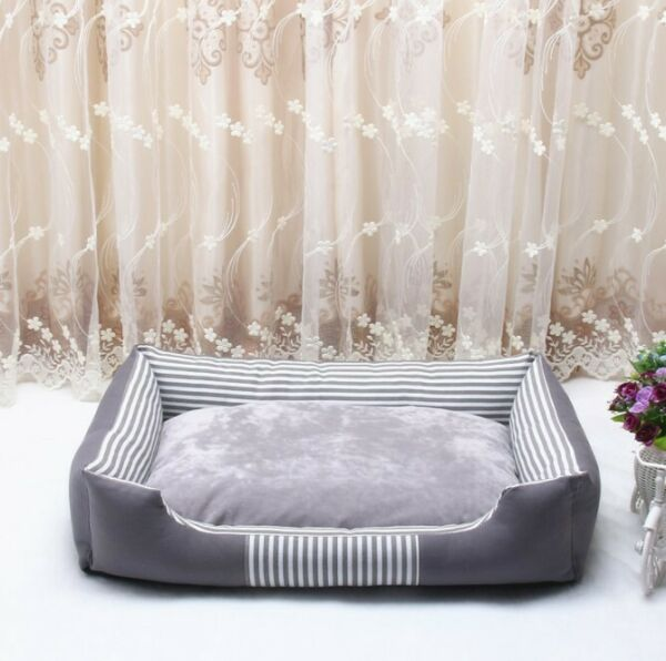 28quot; Orthopedic Pet Calming Bed Dog Cat Nest House Warm Large Sofa Beds Gray