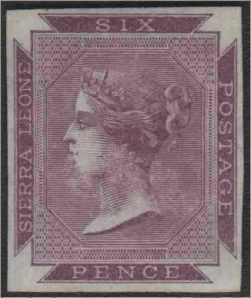 Sierra Leone 1859 6d dull purple imperf proof $200.00