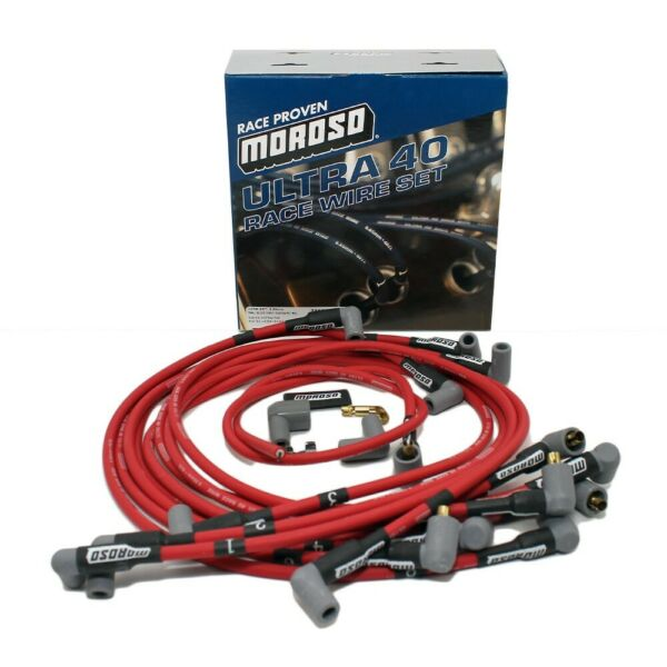 MOROSO ULTRA 40 SPARK PLUG WIRES SBC CHEVY 350 383 UNDER HEADER HEI (RED)