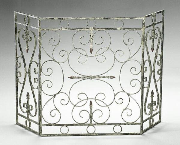 Crawford Distressed Shabby Cottage Style Chic Fireplace Fire Screen~ Cyan Design