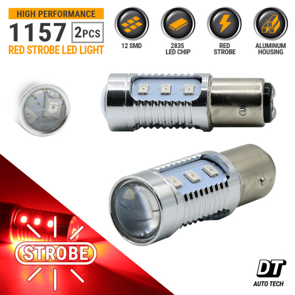 Syneticusa 1157 LED Strobe Flash Red Bright Brake Tail Stop Light Parking Bulbs