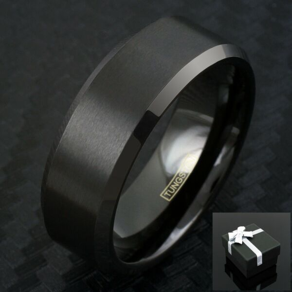 Tungsten Black Beveled Comfort Fit Wedding Band Ring Men's & Womens Sizes Avail.