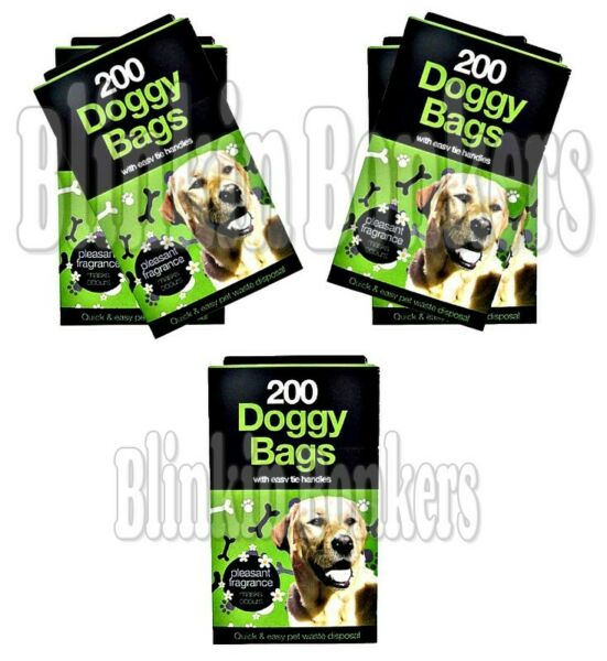 1000 DOGGY BAGS SCENTED DOG CAT PUPPY POO WASTE EASY TIE SCOOPER POOP DISPOSAL GBP 8.89