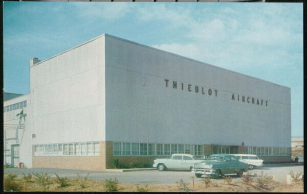 MARTINSBURG WV Airport Thiebolt Aircraft Company Vtg 1950's Cars Old Postcard