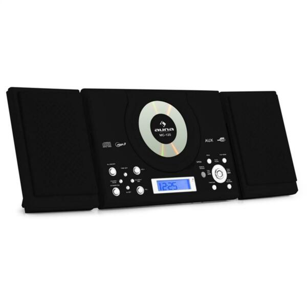 DESIGN MINI HIFI STEREOANLAGE MP3 CD PLAYER UKW RADIO USB AUX ANLAGE SCHWARZ