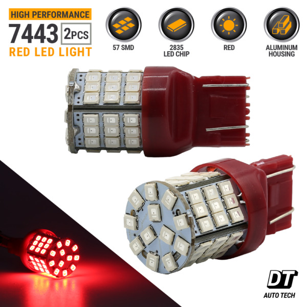 2X 7443 7440 Red 54-LED SMD Brake Tail Stop Light Bulbs