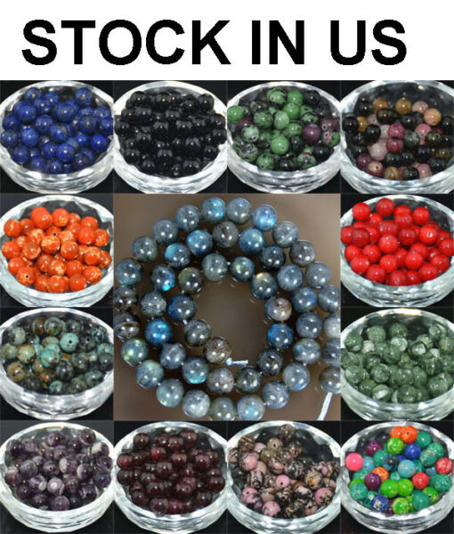 Wholesale Lot Natural Stone Gemstone Round Spacer Loose Beads 4MM 6MM 8MM 10MM $10.99