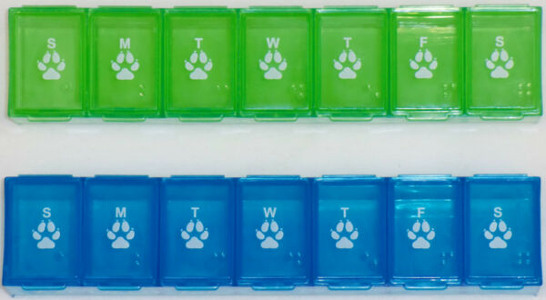 7 Day Pill Container Caddy Box Dispenser PET PAW PRINTS Dog Cat Green Blue NEW