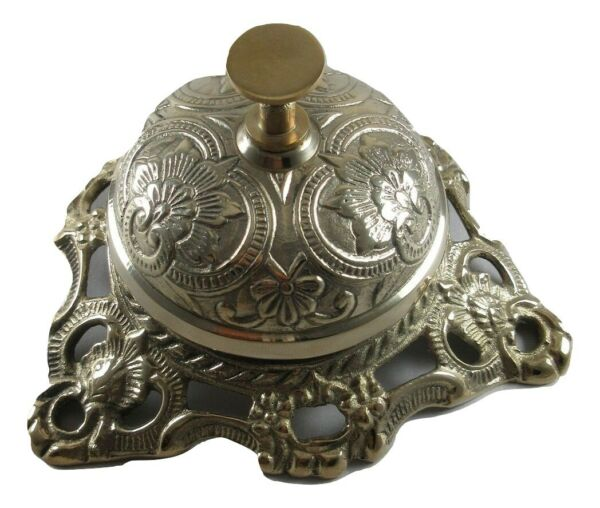 Ornate Solid Brass Hotel Counter Bell Service Desk Bell Service Bells $26.95