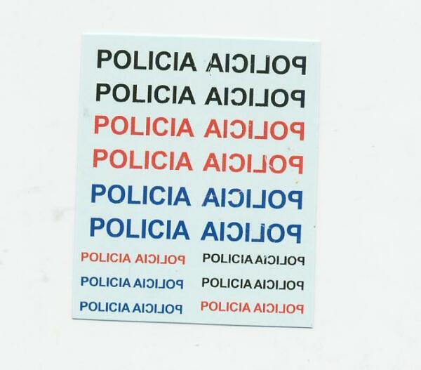 24 X DECAL POLICIA SPANISH POLICE FOR CODE 3 MODEL including mirror images
