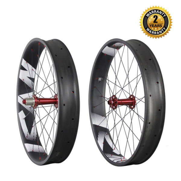 26 in Carbon Fiber Fat Bike Wheelset Clincher Tubeless Ready 32