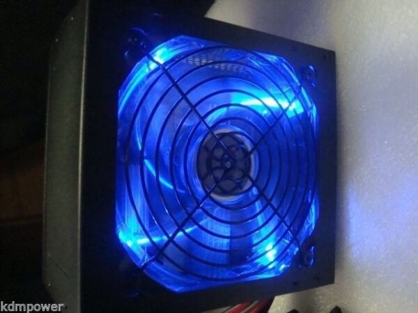 NEW 875W 875 watt Quiet Fan SATA 12V PCI-E Blue LED ATX Power Supply