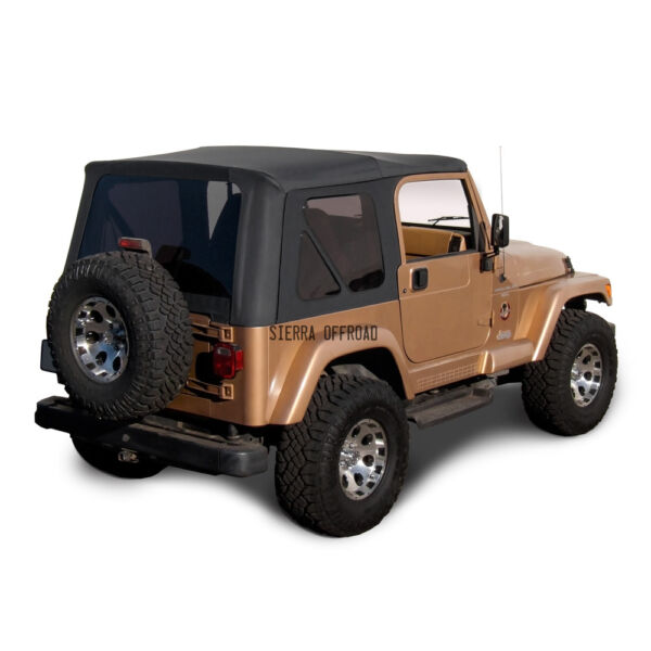 Jeep Wrangler TJ Soft top Replacement, 1997-2006, w/ Tinted Windows, Black Denim