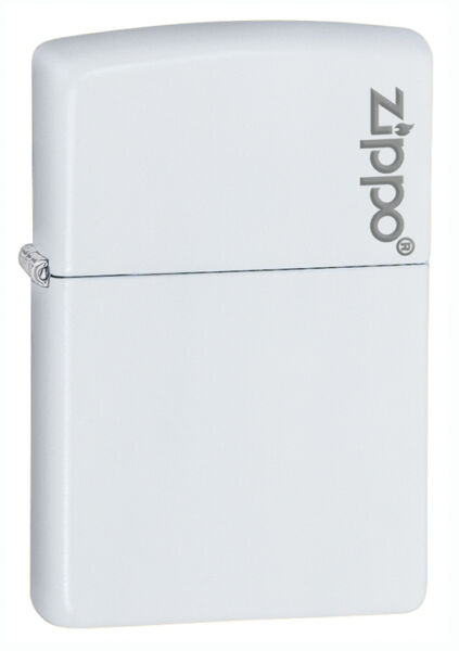 Zippo Windproof White Matte Lighter With Logo 214ZL New In Box $16.96