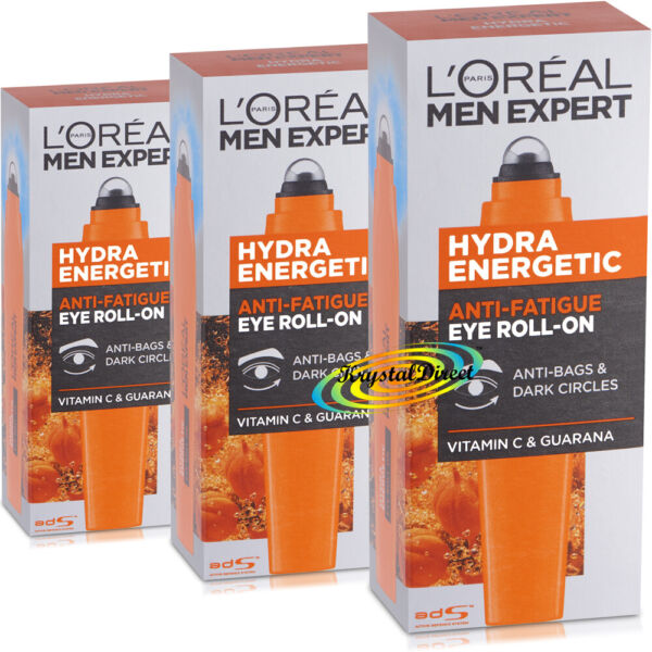 3x Loreal Men Expert Hydra Energetic Eye Roll On Anti Bags & Dark Circles 10ml