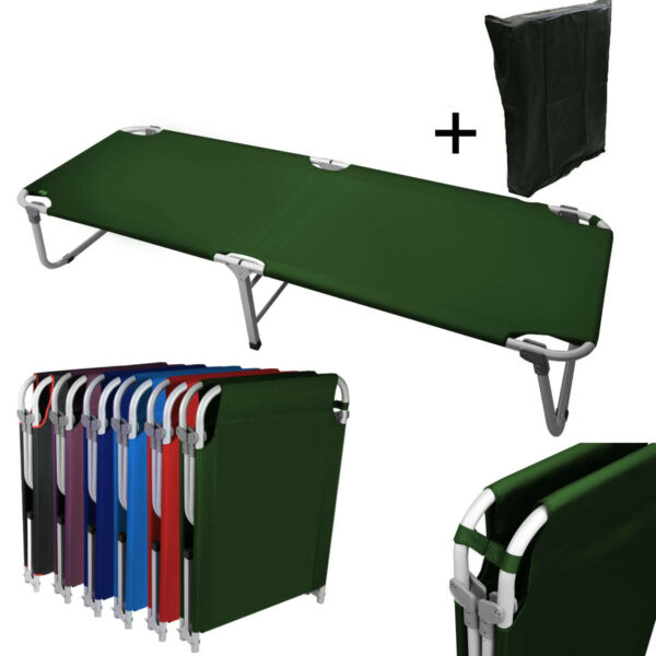 Portable 24.5quot; W Military Cots Fold Up Bed Hiking Travel Camping GreenFree Bag