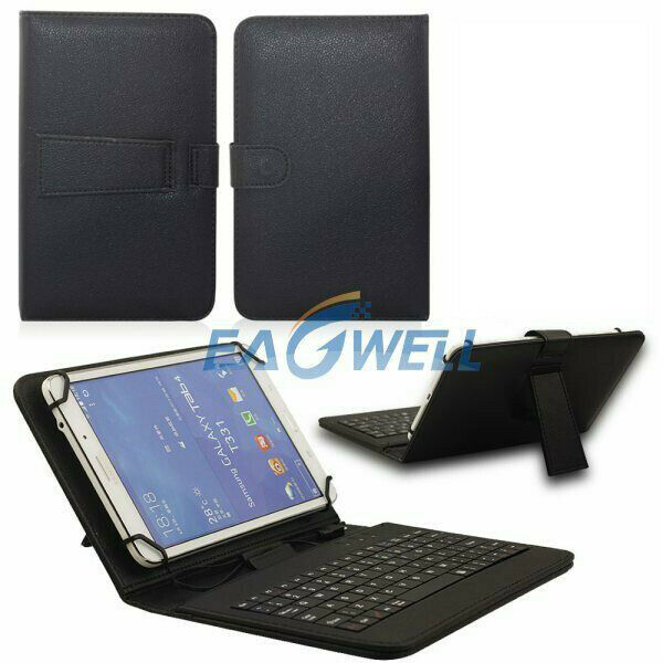 Black PU Leather Case Cover Stand With Micro USB Keyboard For Various Tablet PC