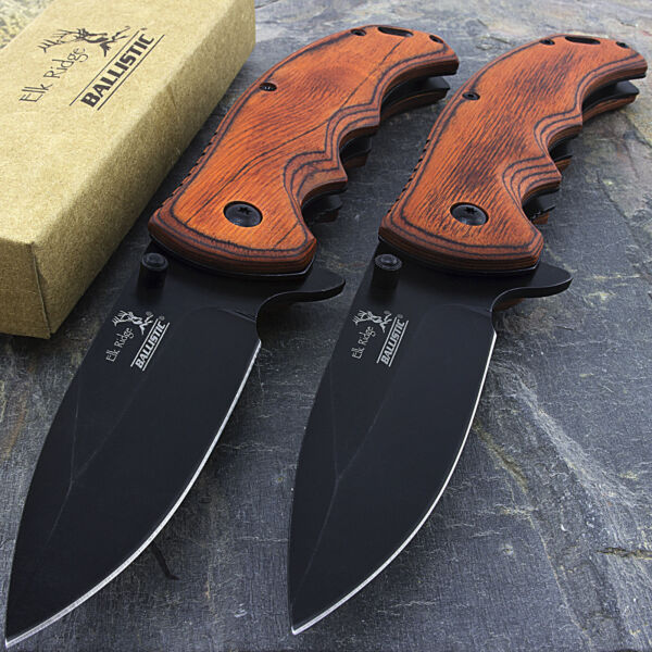 TWO 8.25quot; ELK RIDGE BROWN PAKKAWOOD TACTICAL SPRING ASSISTED FOLDING KNIFE Blade $20.95