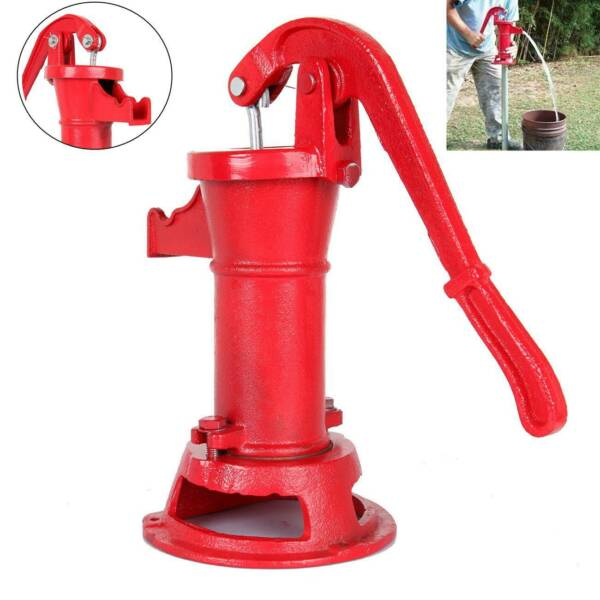 Functional Hand Water Well Pump Pitcher Cast Iron Press Suction Outdoor Yard NEW $49.70