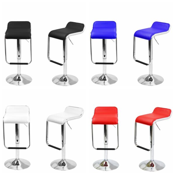 Set of 2 Leather Bar Stools Swivel Dinning Counter Square Seat Adjustable Hts