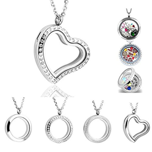 Hot Stainless Steel Floating Memory Glass Locket Pendant Charm Necklace Gift