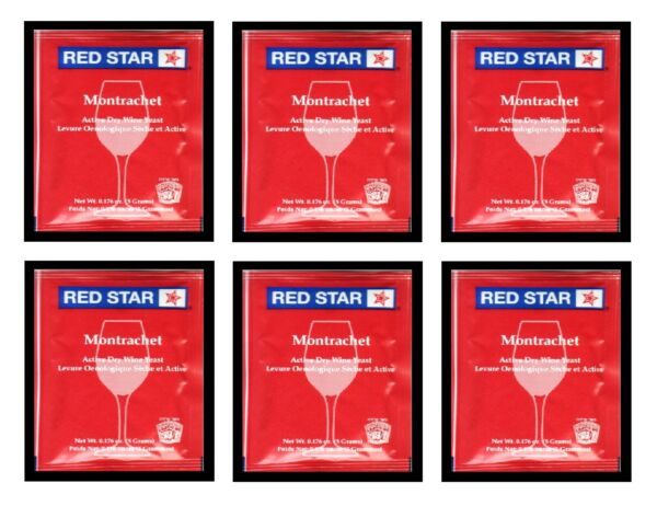 WINE YEAST 6 PACK RS MONTRACHET FOR REDS DARK BERRIES MUSCADINES GRAPES RED STAR