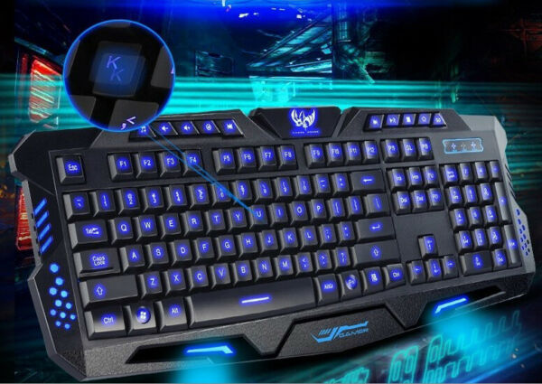 3 Color Backlit Gaming USB Wired Keyboard Multimedia Illuminated LED Backlight