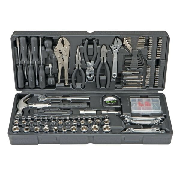 130 pc Tool Set & Case Auto Home Repair Kit SAE Metric LIFETIME Warranty FEDEX