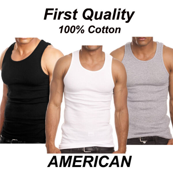Lot 3 6 Mens 100% Cotton Tank Top A Shirt Wife Beater Undershirt Ribbed Muscle