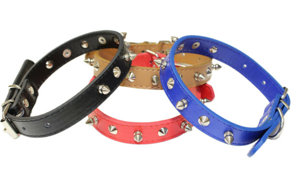 NEW FASHION THICK MEDIUM SIZE LEATHER SPIKED DOG COLLAR SPIKE STUDDED PET PUPPY $12.99