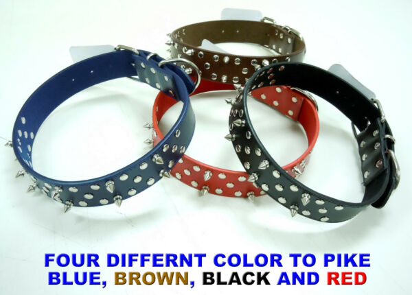 NEW FASHION THICK LEATHER SPIKED LARGE SIZE DOG COLLAR SPIKE STUDDED PET PUPPY $6.99