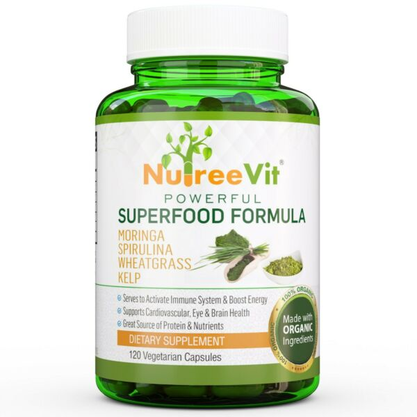 PURE ORGANIC SUPERFOOD - MORINGA SPIRULINA WHEATGRASS KELP CAPSULES (500mg)